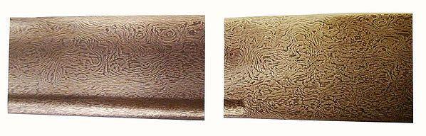 Potongan baja Damaskus dari sebilah pedang yang dibuat pada abad ke-16. Tidak seperti senjata baja Eropa yang biasanya berkilat, pedang ini menunjukkan tekstur yang kasar dan pola garis-garis acak yang unik.