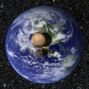 Penampakan Pluto dan Charon jika ditempatkan di atas permukaan bumi. Sumber: NASA 's Marshall Space Flight Center